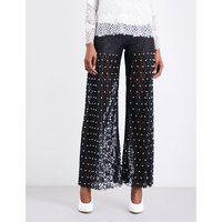 Faux-pearl embellished wide-leg pleated lace trousers