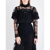 Ruffled floral-lace top