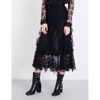 Flared high-rise rosebud floral-lace skirt