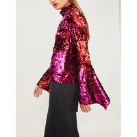 High-neck sequinned top