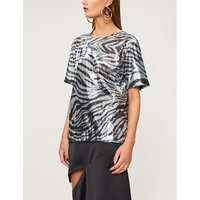 Zebra-pattern sequinned top