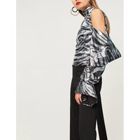 Zebra-pattern cold-shoulder sequinned top