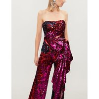 Drape-panel sequinned bustier top
