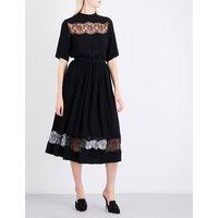 Floral lace-trim georgette midi dress