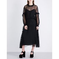 Ruffled silk-chiffon midi dress