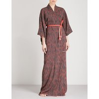 Squiggle-print silk robe