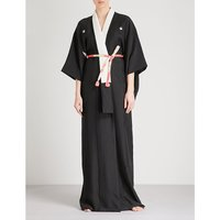 Cranes silk kimono robe