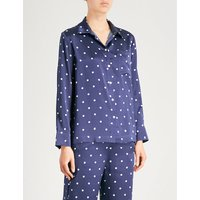 Polka dot silk-satin pyjama top