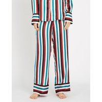 Striped silk-satin pyjama bottoms