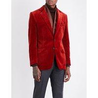 Regular-fit velvet jacket
