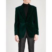Peak-lapel tailored-fit velvet jacket