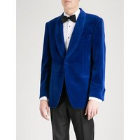 Shawl-lapel tailored-fit velvet jacket