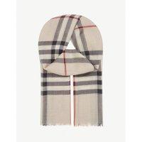 BURBERRY | Burberry Giant check wool-silk scarf | Goxip