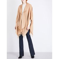 Burberry Ladies Camel Iconic Tonal Mega Check Cashmere Cape, Size: One Size