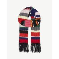 Rainbow stripe cashmere-blend scarf
