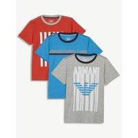 Pack of three cotton logo T-shirts