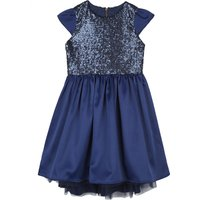 Short-sleeved sequinned dress 4-14 years