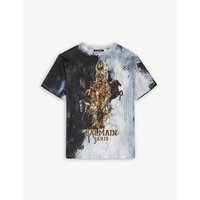 Horse print logo cotton t-shirt 6-14 years