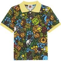 Island print cotton polo shirt 4-8 years