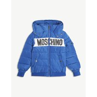 Logo-front hooded padded jacket 4-14 years
