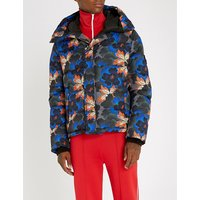 Floral-print shell-down coat