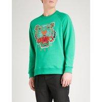 Tiger-motif cotton-jersey sweatshirt