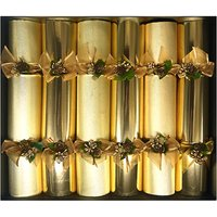 Gold & pinecone Christmas crackers pack of six