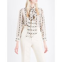 Pussy-bow monogram-print silk blouse