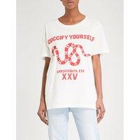 Snake-print cotton-jersey T-shirt