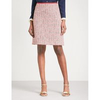Grosgrain-trim high-rise tweed skirt