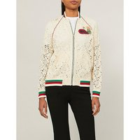 Logo-embroidered lace bomber jacket