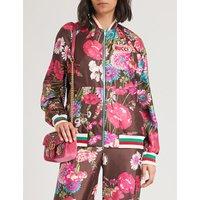 可逆 花的-打印 丝-斜纹布 轰炸机 夹克