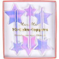 Star iridescent star toppers pack of 12