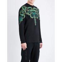 Snake-print cotton sweatshirt