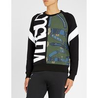 Logo belt-print cotton-jersey sweatshirt