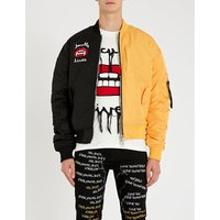 Contrast-panel embroidered satin bomber jacket