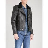 Avery faux-shearling and recycled leather jacket