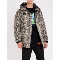 Snake-print shell-down jacket