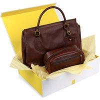 Barbour leather holdall and washbag hamper, Mens, Dark brown
