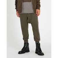 Prisoner dropped-crotch cotton-knitted jogging bottoms