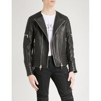 Laced leather biker jacket