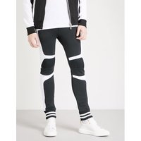 Contrast-panel tapered cotton-jersey jogging bottoms