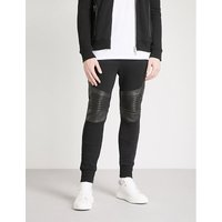 Biker-detail cotton-jersey and leather jogging bottoms