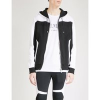 Contrast-panel cotton-jersey hoody