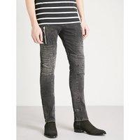 Biker-detail slim-fit skinny jeans