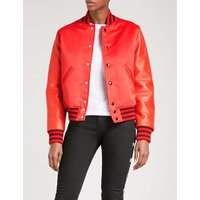 Leather and satin bomber jacket