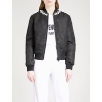 Faux-pearl embellished shell bomber jacket