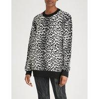 Leopard-pattern wool-blend jumper