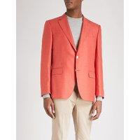 Basketweave regular-fit wool and silk-blend jacket