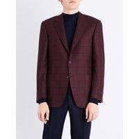 Windowpane check cashmere jacket